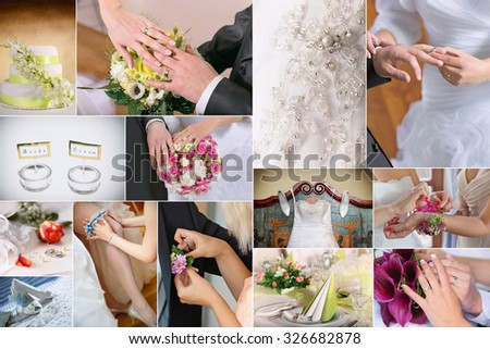 Wedding theme collage composed of different details  images - stock photo