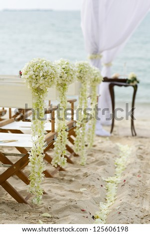 wedding venue on the beach - stock photo