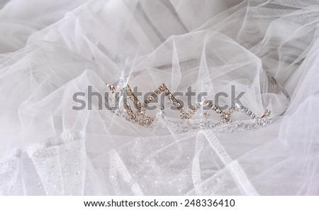 Wedding vintage crown of bride and veil. wedding concept  - stock photo