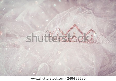 Wedding vintage crown of bride and veil with glitter overlay. wedding concept - stock photo