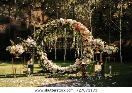 Wedding Wedding Ceremony Arch Arch Decorated Stock Photo 727071193 ...