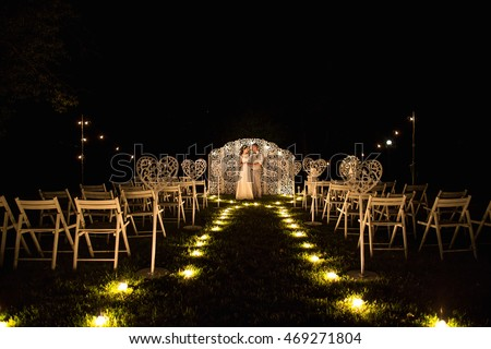 Wedding Wedding Day Night Ceremony Beautiful Stock Photo ...