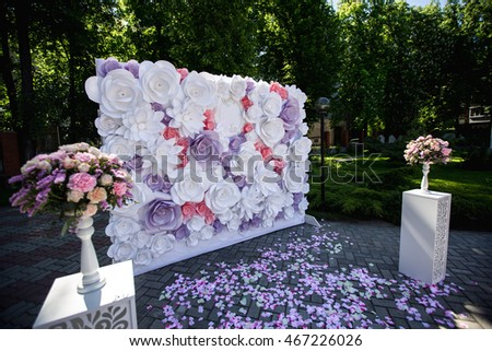 Wedding wedding day paper flowers wedding stock photo 467226026 wedding wedding day paper flowers in wedding decor luxury wedding decoration wedding junglespirit Gallery