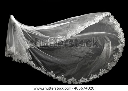 wedding white Bridal veil on black background isolated - stock photo