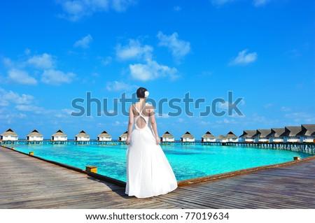 wedding woman in maldives - stock photo
