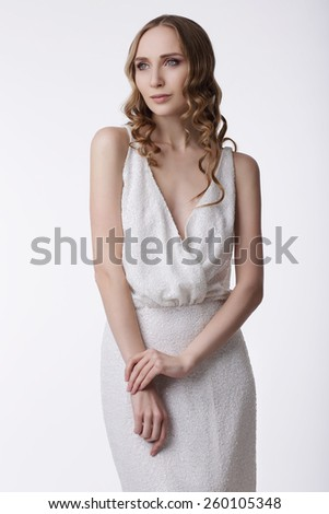 Wedding. Young Quiet Woman in Light Dress - stock photo