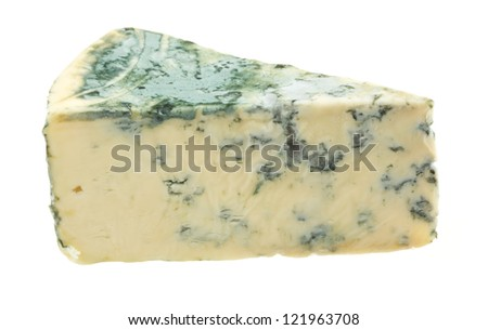 Wedge of soft blue cheese, isolated on white