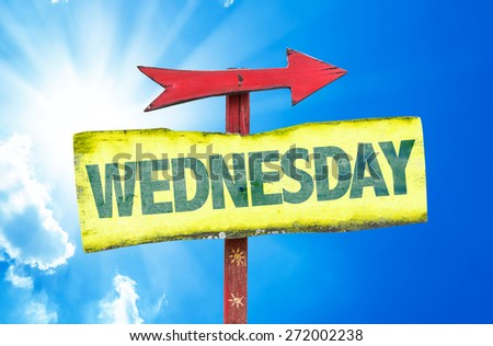 Wednesday sign with sky background - stock photo