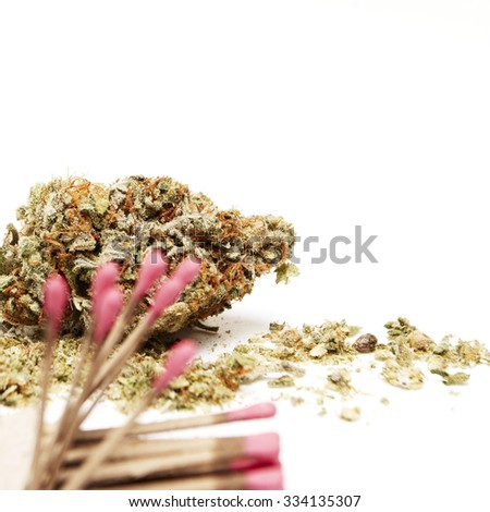 Weed Bud and Matches, Marijuana