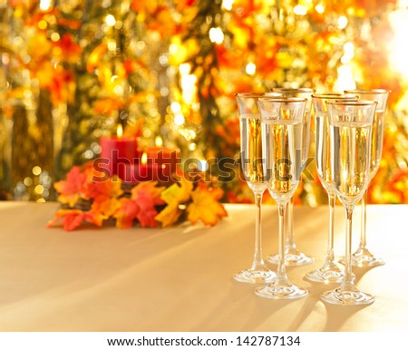 Weeding reception with Champagne glasses  - stock photo