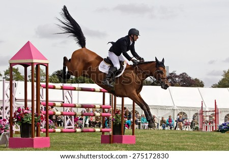 WEEDON, UK - AUGUST 28: A male rider competing in the main show jumping event of the day at the Bucks County show successfully clears one of the large jump gates on August 28, 2014 in Weedon - stock photo