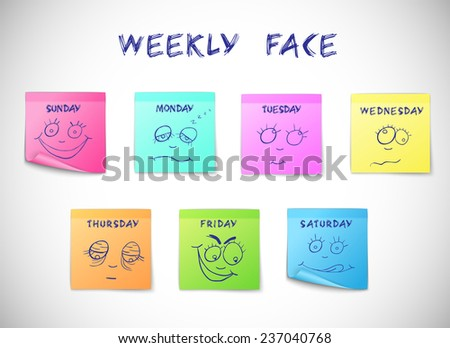 Weekly calendar colored peeling stickers with faces characters isolated  illustration - stock photo