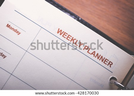 Weekly Menu on white note paper. memo. planing. - stock photo