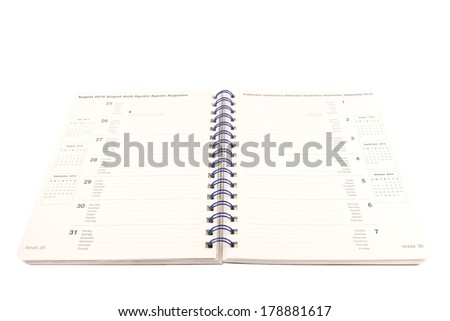 Weekly planer on a white background