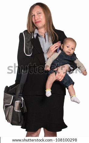 Weeping female executive with baby over white background