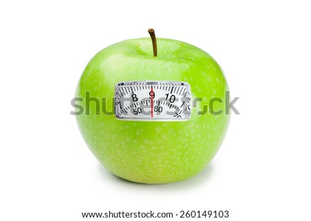 weighing scales against green apple