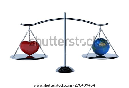 weighing scales with heart and earth on white background .Earth day Concept.clipping path
