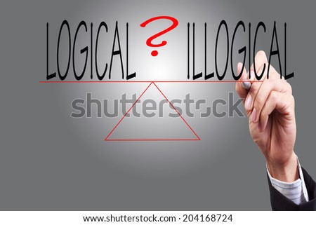 weighing the risk logical and illogical of a situation or issue  one word on each side comparing the positives and negatives   - stock photo