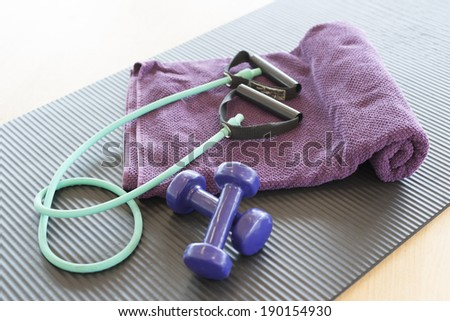 weight and jump- rope - stock photo