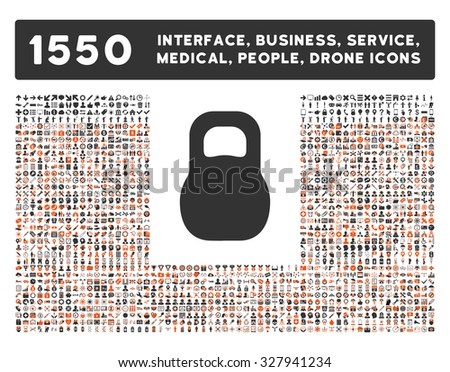 Weight icon and other web interface, business, tools, people, medical service and awards glyph symbols. Style is bicolor flat symbols, orange and gray colors, rounded angles, white background. - stock photo