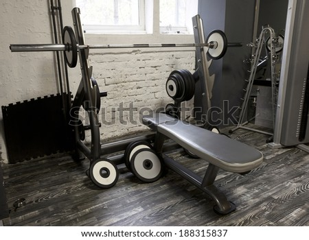 Weight-lifting bench in fitness center