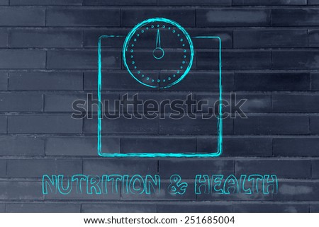 weight loss and reaching the ideal weight, scale illustration