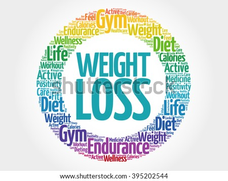 Weight Loss circle stamp word cloud, fitness, sport, health concept - stock photo