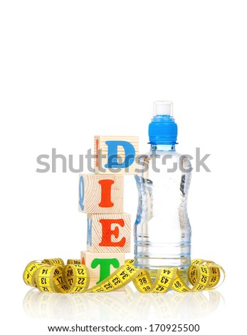Weight loss concept - yellow tape measure with water bottle, isolated on white background  - stock photo