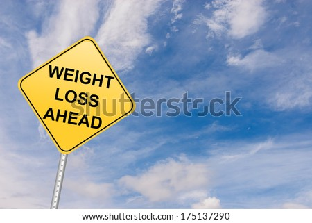 Weight loss inspirational motivation road sign - stock photo