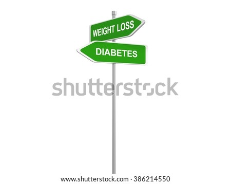 Weight loss or diabetes road sign