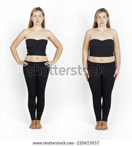 Weight loss. Photo of the girl before and after.