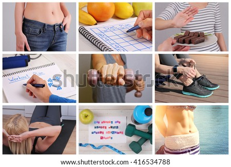 Weight loss results, dieting concept Collage.  Sport, Fitness, Jogging, Motivation, Weight loss before and after, nutrition and workout plan - stock photo