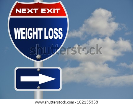 Weight loss road sign - stock photo