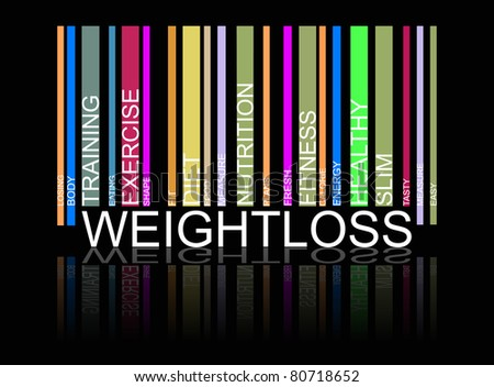 weight loss  text bar-code, vector - stock photo