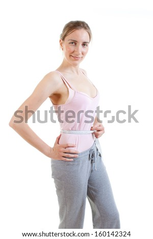 Weight loss woman - stock photo