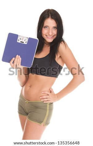 Weight loss woman on scale happy on scales over white