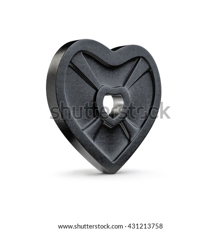 Weight plate heart / 3D illustration of heart shaped barbell weight plate