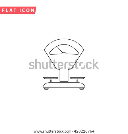 Weight Scale. Black outline simple pictogram on white. Line icon - stock photo