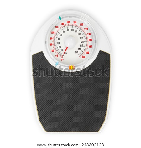 Weight Scale close up on white background - stock photo