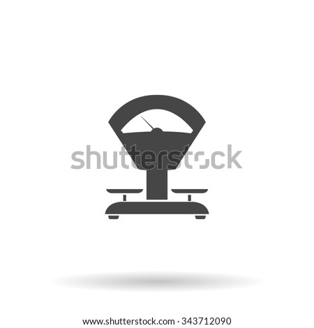 Weight Scale. Flat icon on grey background with shadow - stock photo