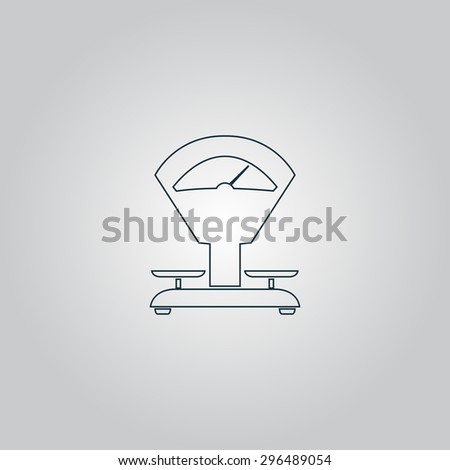 Weight Scale. Flat web icon, sign or button isolated on grey background. Collection modern trend concept design style  illustration symbol - stock photo