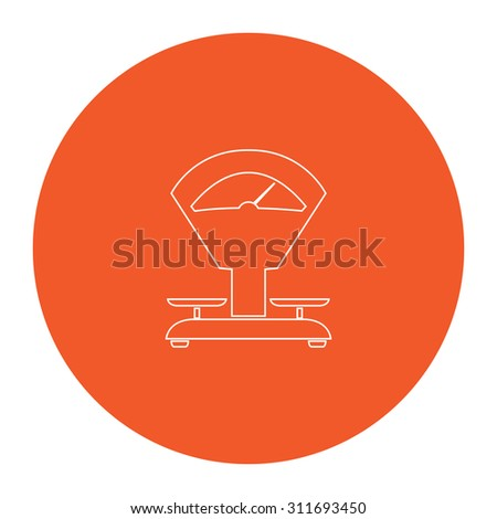 Weight Scale. Flat white symbol in the orange circle. Outline illustration icon - stock photo
