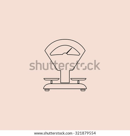 Weight Scale. Outline icon. Simple flat pictogram on pink background - stock photo