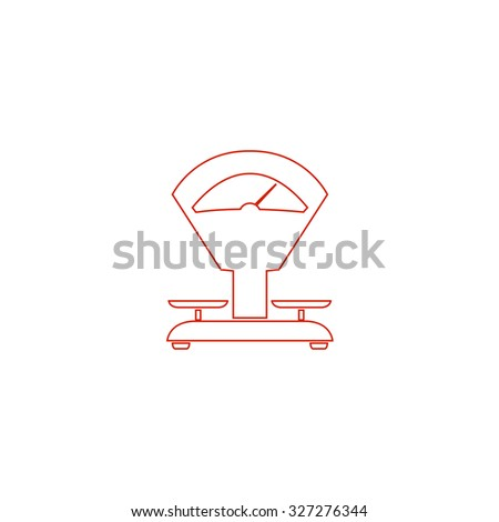Weight Scale. Red outline illustration pictogram on white background. Flat simple icon - stock photo