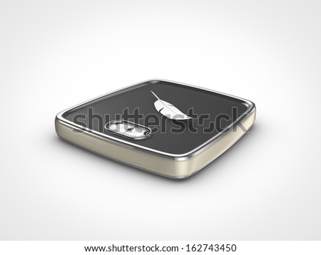 weight scale with feather - stock photo