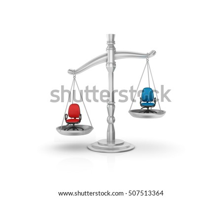 Weight Scale with Office Chairs on White Background - High Quality 3D Rendering