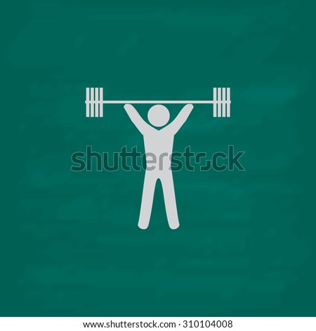 Weightlifting.  Icon. Imitation draw with white chalk on green chalkboard. Flat Pictogram and School board background. Illustration symbol - stock photo