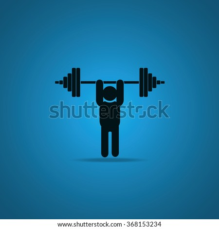 Weightlifting illustration. Barbell icon. - stock photo