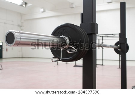 weightlifting, tool for training, gym interior  - stock photo