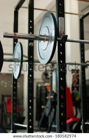 Weights on a rack in the gym Ranong , Thailand - stock photo
